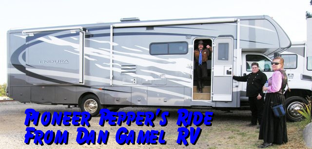Pioneer Pepper with his tour motorhome