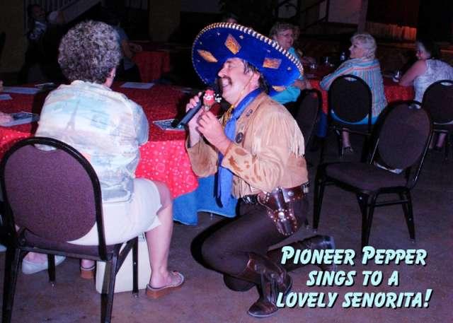 Pioneer Pepper sings to a fan