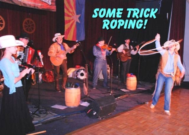 Calena of The Sunset Pioneers trick roping