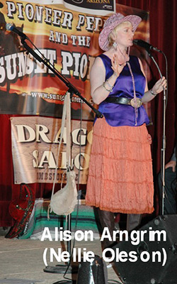 Alison Arngrim (Nellie Oleson) on stage at the Little House on the Prairie reunion in Tombstone