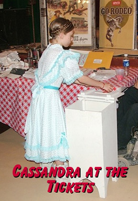 Cassandra of the Sunset Pioneers helps at the Little House on the Prairie reunion in Tombstone