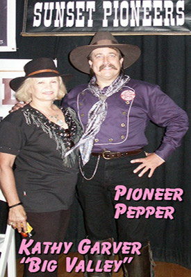 Kathy Garver from The Big Valley with Pioneer Pepper at the Little House on the Prairie reunion in Tombstone