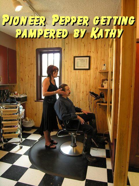 Pioneer Pepper in the hair cut chair